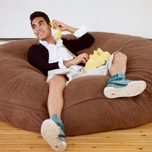Microsuede Chocolate Cocoon Saxx Bean Bag - 6 Feet