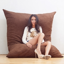 Microsuede Chocolate Pillow Saxx Bean Bag - 6 Feet