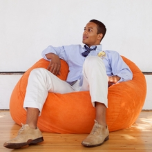 Microsuede Orange Game Saxx Bean Bag - 4 Feet