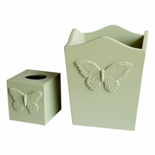 Mint Butterfly Waste Basket and Tissue Box Set