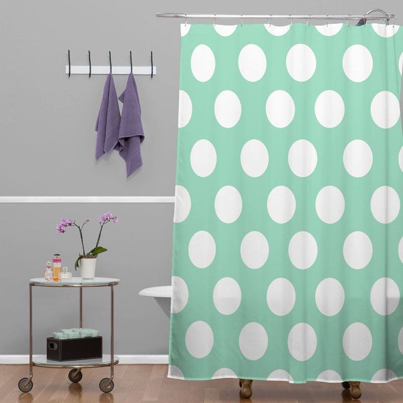 District17: Mintiest Polka Dots Shower Curtain: Shower Curtains