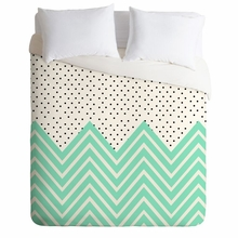 Minty Chevron And Dots Lightweight Duvet Cover