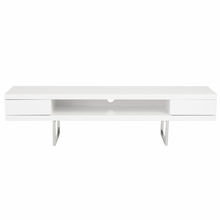 Miranda Media Stand in White Lacquer and Polished Stainless Steel