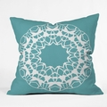 Mod Medallion Aqua Throw Pillow