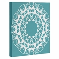 Mod Medallion Aqua Wrapped Canvas Art