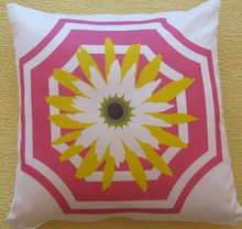 Mod Quad Daisy Pink Throw Pillow
