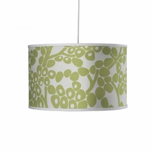 Modern Berries Motif Large Cylinder Pendant Light in Spring Green