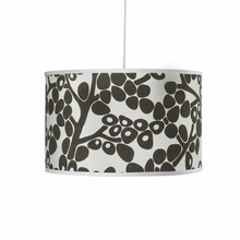 Modern Berries Motif Large Cylinder Pendant Light in Tree Trunk Brown