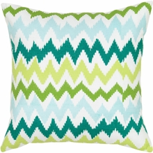 Modern Chevron Throw Pillow in Green