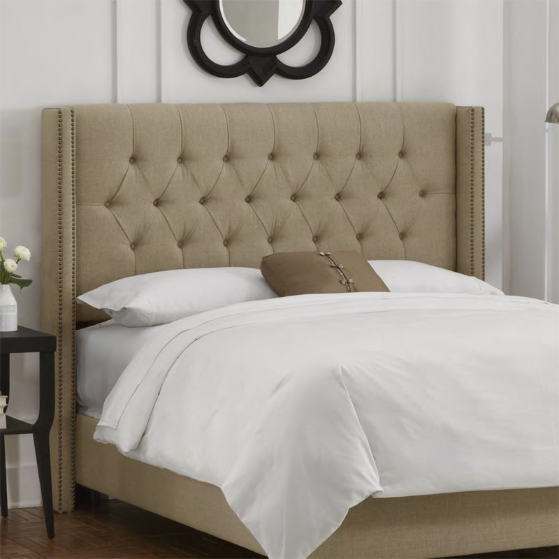 District17: Modern Diamond Tufted Wingback Upholstered Headboard: Beds