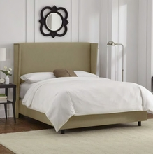 Modern Nailhead Wingback Upholstered Bed
