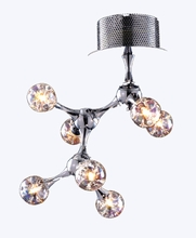 Molecular Collection Seven Light Flush Mount in Chrome with Rainbow Glass