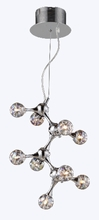 Molecular Nine Light Chandelier in Chrome with Rainbow Glass