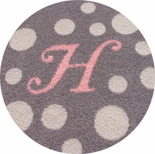Monogram Round Rug with Polka Dots