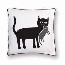 Mother Cat with her Kitten Reversible Throw Pillow