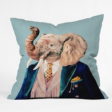 Mr Elephant Throw Pillow