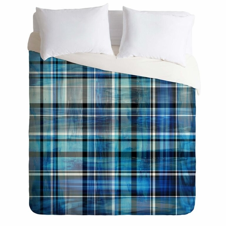 Multi Blues Plaid Lightweight Duvet Cover