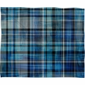 Multi Blues Plaid Fleece Throw Blanket