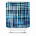 Multi Blues Plaid Shower Curtain