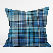 Multi Blues Plaid Throw Pillow
