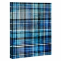 Multi Blues Plaid Wrapped Canvas Art