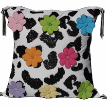 Multicolor Flower Pillow with Black Beading