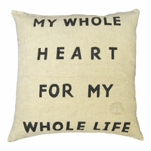 My Whole Heart Linen Throw Pillow