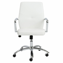 Napoleon Low Back Office Chair in White and Chrome