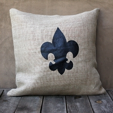 Natural Burlap Pillow With Black Fleur De Lis