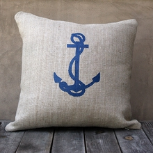 Natural Burlap Pillow With Navy Anchor