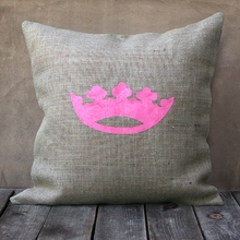 Natural Burlap Pillow With Pink Crown