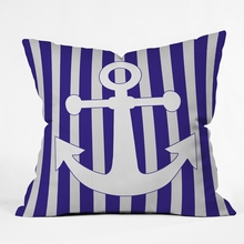 Navy Anchor Throw Pillow