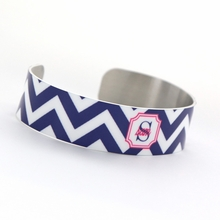 Navy and Pink Chevron Monogram Thin Cuff Bracelet
