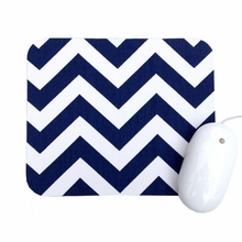 Navy and White Chevron Mouse Pad
