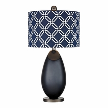 Navy Blue Glass Table Lamp With Linked Rings Printed Shade