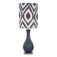 Navy Blue Textured Ceramic Accent Table Lamp With Printed Shade