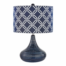Navy Blue Textured Ceramic Table Lamp With Linked Rings Printed Shade