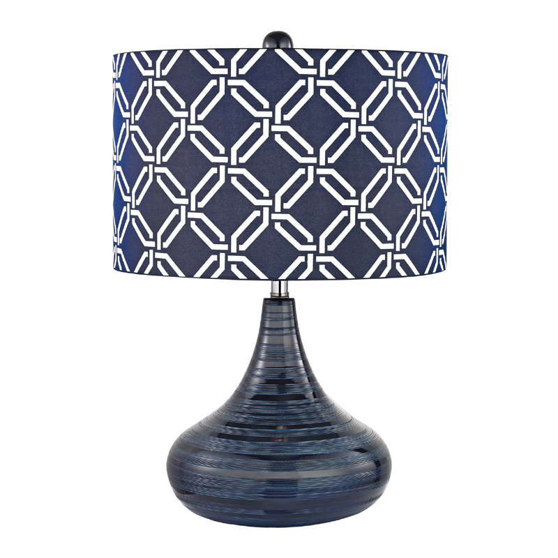 district17 navy blue textured ceramic table lamp with. Black Bedroom Furniture Sets. Home Design Ideas
