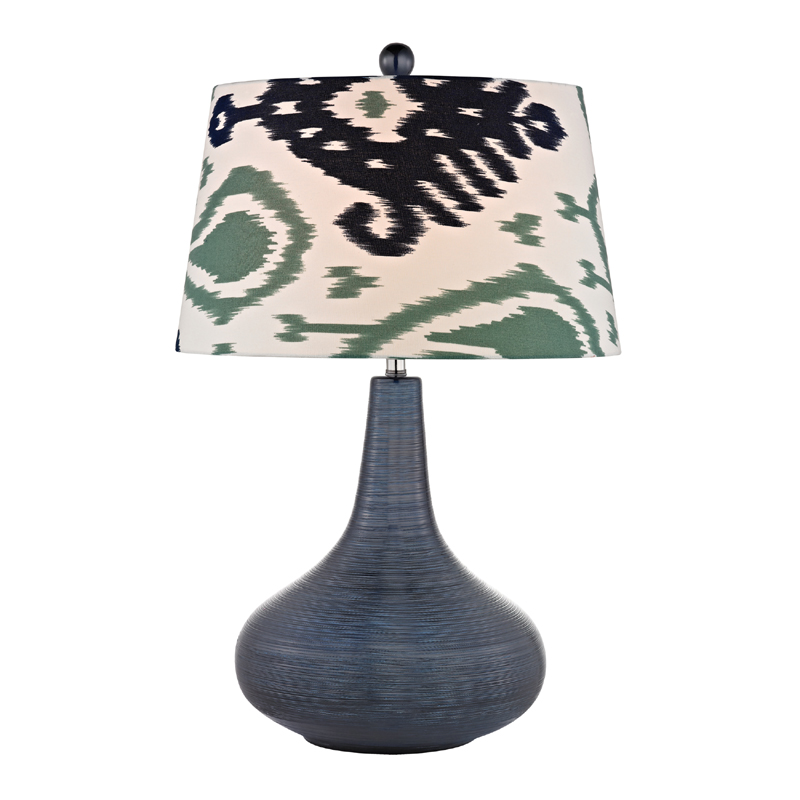 navy blue textured ceramic table lamp with printed shade lamps. Black Bedroom Furniture Sets. Home Design Ideas