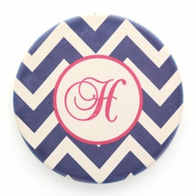 Navy Chevron Initial Personalized Coaster Set