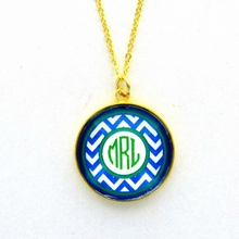 Navy Chevron Monogram Pendant