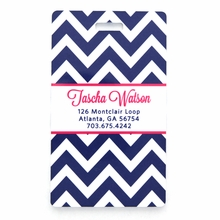 Navy Chevron Personalized Luggage Tag Set