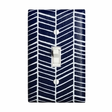 Navy Herringbone Light Switch Plate Cover