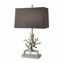 Nickel Coral Table Lamp With Grey Shade And Light Silver Liner