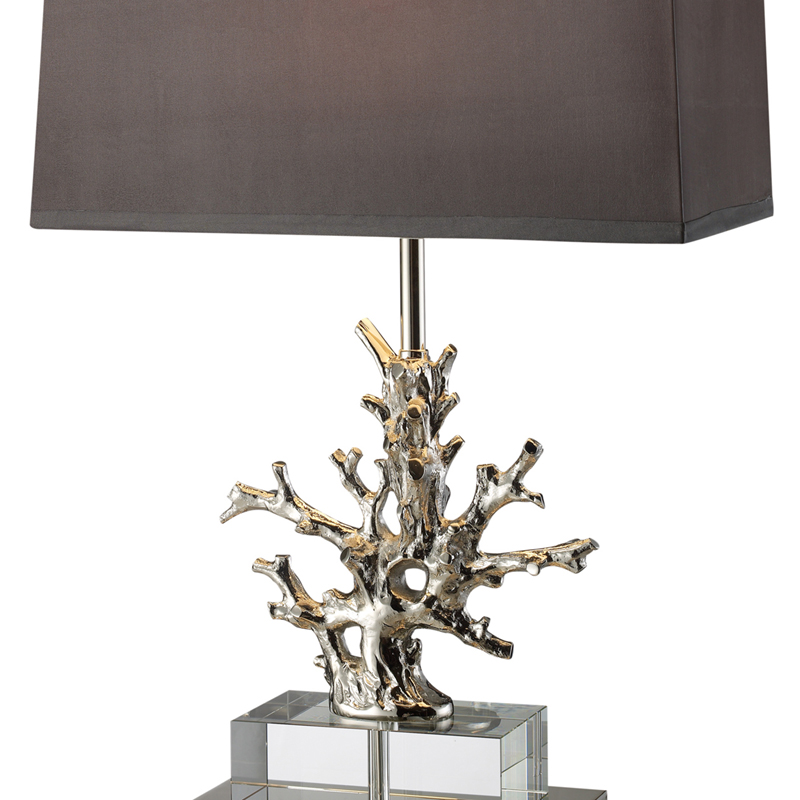 Superb Nickel Coral Table Lamp With Grey Shade And Light Silver Liner