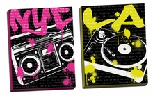 NYC Boom Box and LA Turn Table Canvas Wall Art Set