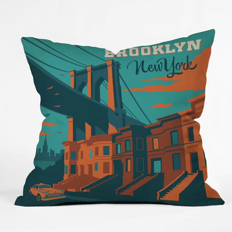 District17 NYC Brooklyn Throw Pillow Pillows