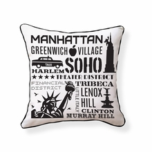 NYC Neighborhoods Reversible Throw Pillow