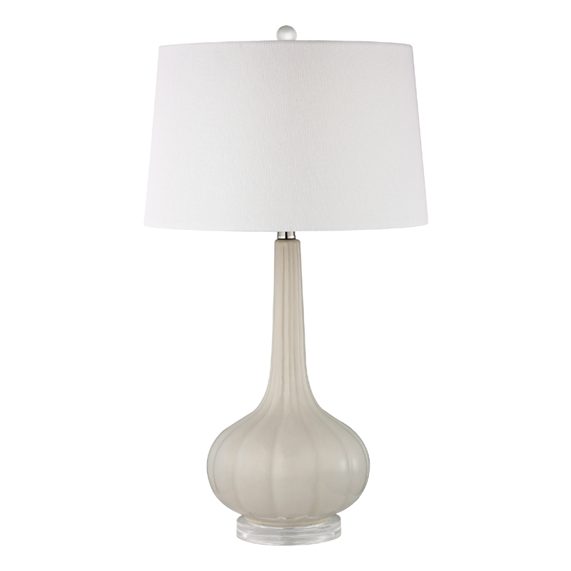 district17 off white fluted ceramic table lamp on acrylic base lamps. Black Bedroom Furniture Sets. Home Design Ideas