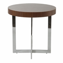 Oliver Side Table in Walnut and Chrome